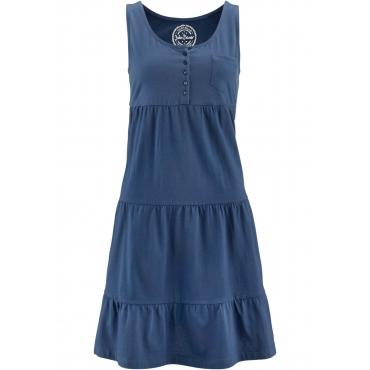 Baumwoll Jerseykleid, kurz ohne Ärmel  in blau für Damen von bonprix