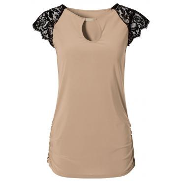 Shirt kurzer Arm  figurbetont  in beige für Damen von bonprix