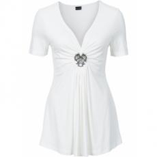 Shirt mit abnehmbarer Brosche kurzer Arm  in weiß für Damen von bonprix