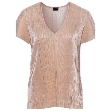 Shirt mit Metallic-Plissee kurzer Arm  in gold für Damen von bonprix