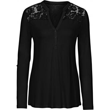 Shirt mit Spitze und langen Ärmeln langarm  in schwarz für Damen von bonprix