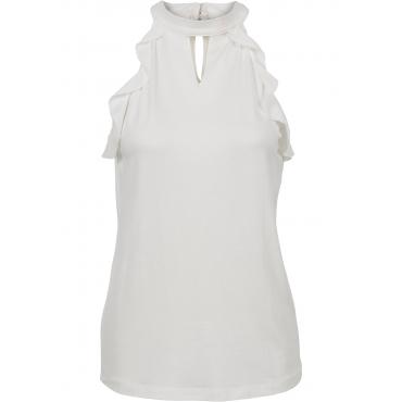 Shirt mit Volant in weiß für Damen von bonprix