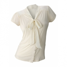 Shirtbluse kurzer Arm  figurbetont  in beige (V-Ausschnitt) für Damen von bonprix