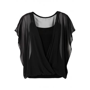 Shirtbluse kurzer Arm  in schwarz (Rundhals) für Damen von bonprix