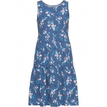 Shirtkleid, bedruckt ohne Ärmel  in blau für Damen von bonprix