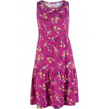 Shirtkleid, bedruckt ohne Ärmel  in lila für Damen von bonprix