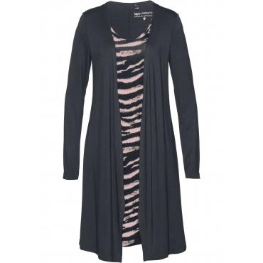Shirtkleid Doppeloptik langarm  in schwarz von bonprix
