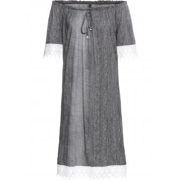 Shirtkleid in Jeansoptik kurzer Arm  in grau von bonprix