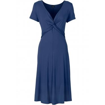 Shirtkleid kurzer Arm  in blau (V-Ausschnitt) von bonprix