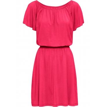 Shirtkleid kurzer Arm  in pink (Carmen-Ausschnitt) für Damen von bonprix