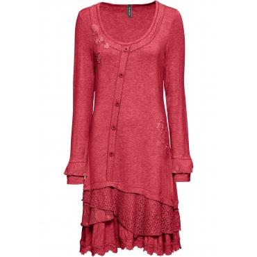 Shirtkleid mit Applikationen langarm  in rot von bonprix