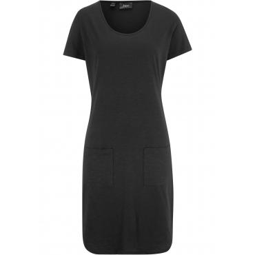 Shirtkleid mit aufgesetzten Taschen kurzer Arm  in schwarz für Damen von bonprix