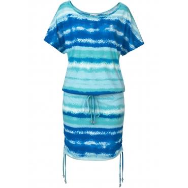 Shirtkleid mit Bindefunktion, halbarm in blau von bonprix