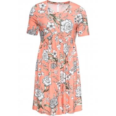 Shirtkleid mit Blumendruck halber Arm  in orange von bonprix
