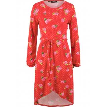 Shirtkleid mit Blumendruck langarm  in rot von bonprix