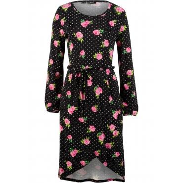 Shirtkleid mit Blumendruck langarm  in schwarz von bonprix