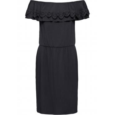 Shirtkleid mit Carmen-Ausschnitt in schwarz für Damen von bonprix