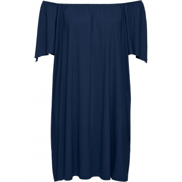 Shirtkleid mit Carmenausschnitt in blau von bonprix