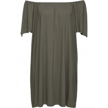 Shirtkleid mit Carmenausschnitt in grün von bonprix