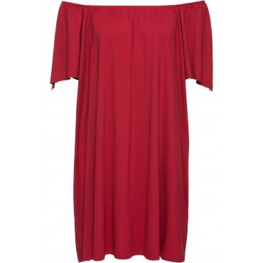 Shirtkleid mit Carmenausschnitt in rot von bonprix