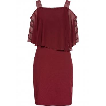 Shirtkleid mit Chiffon-Überwurf Flügelärmel  in rot für Damen von bonprix