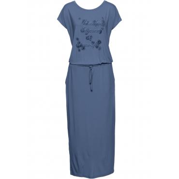 Jerseykleid mit Druck, Kurzarm in blau für Damen von bonprix