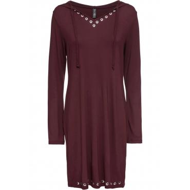 Shirtkleid mit Kapuze langarm  in rot für Damen von bonprix