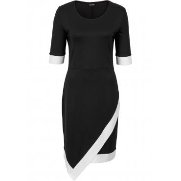 Shirtkleid mit Kontrastfarbe halber Arm  in schwarz von bonprix