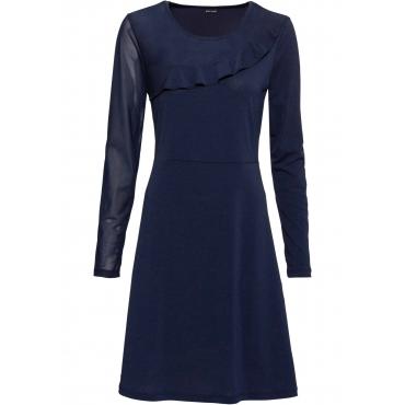 Shirtkleid mit Mesh-Einsatz langarm  in blau für Damen von bonprix