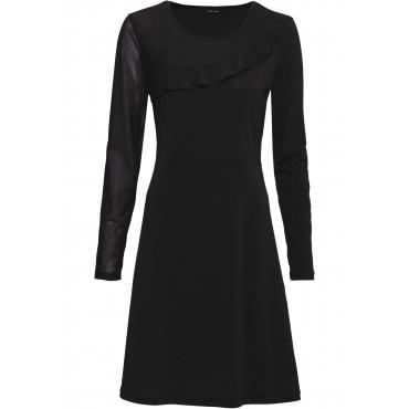 Shirtkleid mit Mesh-Einsatz langarm  in schwarz für Damen von bonprix