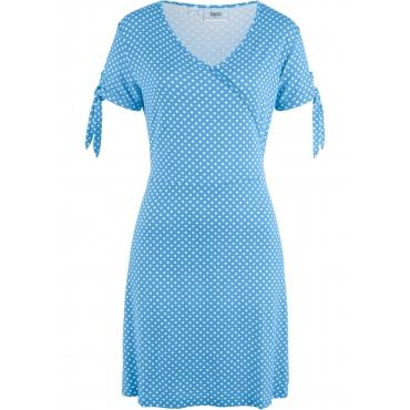 Shirtkleid mit Punkten kurzer Arm  in blau von bonprix