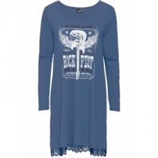 Shirtkleid mit Spitze am Saum langarm  in blau für Damen von bonprix
