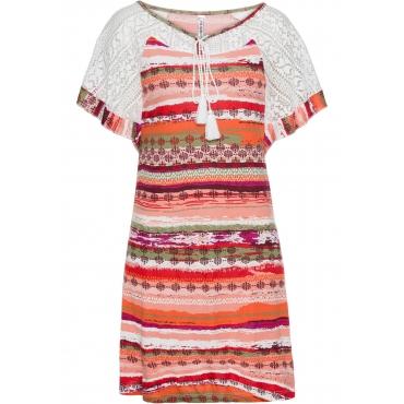 Shirtkleid mit Spitze kurz/lang  in rot für Damen von bonprix