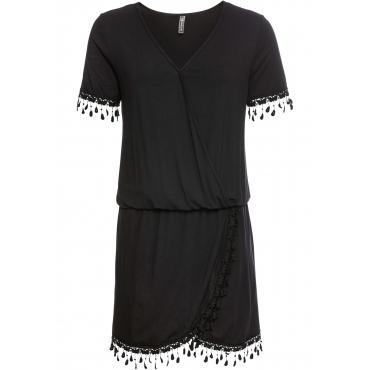 Shirtkleid mit Spitzeneinsatz kurzer Arm  in schwarz  von bonprix