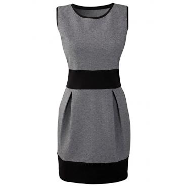 Shirtkleid ohne Ärmel  figurbetont  in grau (Rundhals) von bonprix
