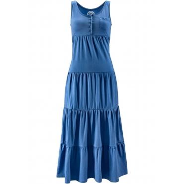 Baumwoll Jerseykleid, lang ohne Ärmel  in blau für Damen von bonprix