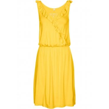 Shirtkleid ohne Ärmel  in gelb (V-Ausschnitt) von bonprix
