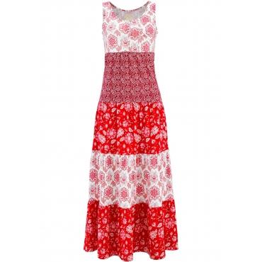 Baumwoll Jerseykleid, lang ohne Ärmel  in rot für Damen von bonprix