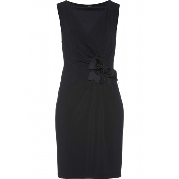 Shirtkleid ohne Ärmel  in schwarz (V-Ausschnitt) von bonprix