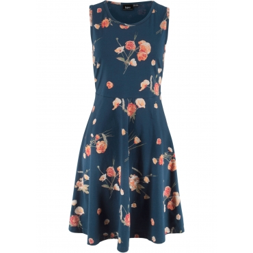 Jerseykleid ohne Arm mit Blumendruck in blau für Damen von bonprix