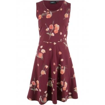 Jerseykleid ohne Arm mit Blumendruck in rot für Damen von bonprix