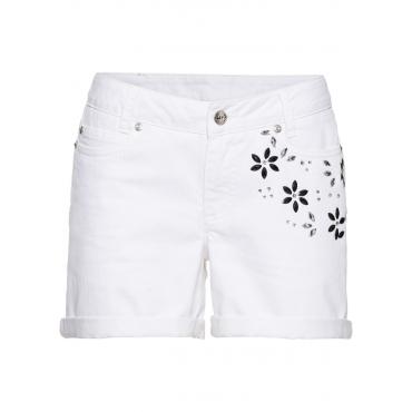 Shorts mit Blumen in weiß für Damen von bonprix
