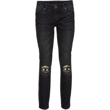 Skinny-Jeans mit Applikation in schwarz für Damen von bonprix