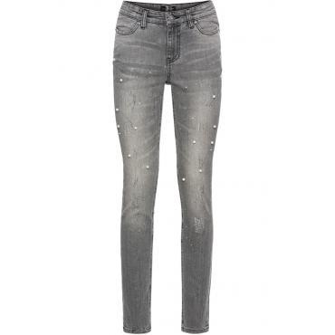Skinny-Jeans, verziert in grau für Damen von bonprix