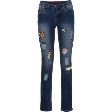 Slim Jeans mit Patches in blau für Damen von bonprix