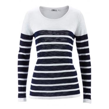 Slub-Garn-Pullover, Langarm in blau für Damen von bonprix