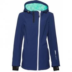 Softshell-Jacke mit Kapuze und Kuschelfleece langarm  in blau für Damen von bonprix