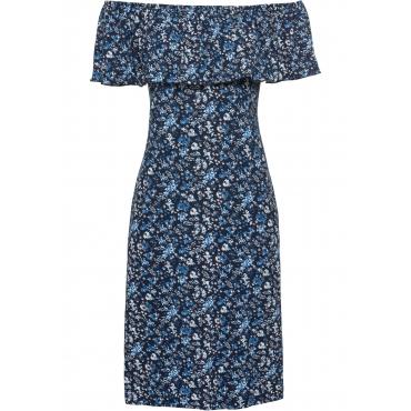 Carmen-Kleid aus Jersey in blau für Damen von bonprix