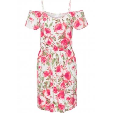 Sommerkleid aus Jersey mit Cut-Outs kurzer Arm  in weiß von bonprix