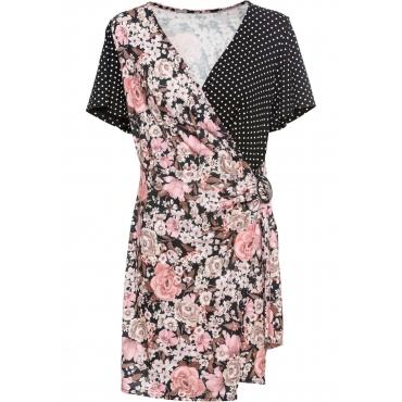 Sommerkleid im Mustermix aus Jersey kurzer Arm  in schwarz von bonprix